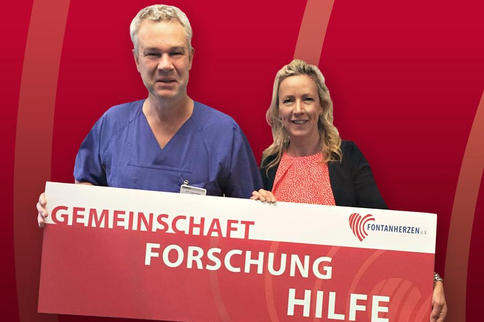 Gemeinsam für Betroffene: Prof. Ingo Dähnert (Präsident der DGPK) und Steffi Hahnl (1. Vorsitzende) im Deutschen Herzzentrum Leipzig. Fördermitglieder von Fontanherzen e. V. unter Menüpunkt HILFE/Mediziner-Support