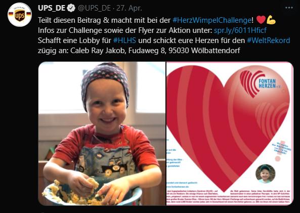 UPS Deutschland Fontanherzen Herz-Wimpelkette